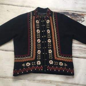Icelandic Design Wool Sweater Jacket Large Black
